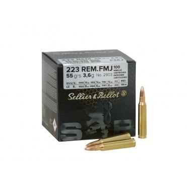 Náboje Sellier & Bellot .223 Rem. FMJ 3,6g, 100 ks