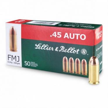 Náboje Sellier & Bellot .45 ACP FMJ 14,9g