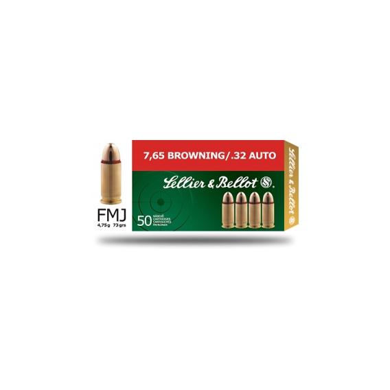 Náboje Sellier & Bellot 7,65 Brow FMJ 4,75g