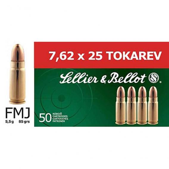 Náboje Sellier & Bellot 7,62x25 TOKAREV FMJ 5,5g
